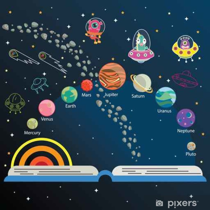 The universe kids, Infographics ,Solar system, Planets comparison, Sun and Moon , Galaxies Classification,Kids space learning,Full vector Pixerstick Sticker - Science
