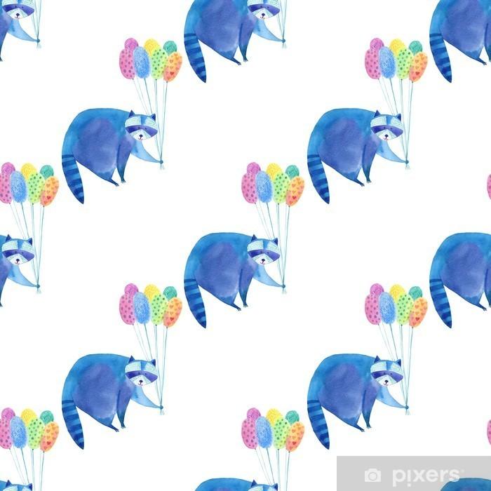 Vinyl Fotobehang Naadloos patroon met blauwe wasbeer en kleurrijke balloon.Watercolor hand getrokken illustration.White background.Animals illustratie. - Kinderkamer