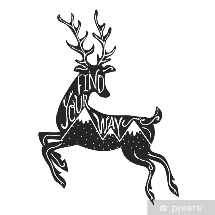 Fototapeta vinylová Vektorové ilustrace s skákání jelen silueta s horami. e9c6d95189