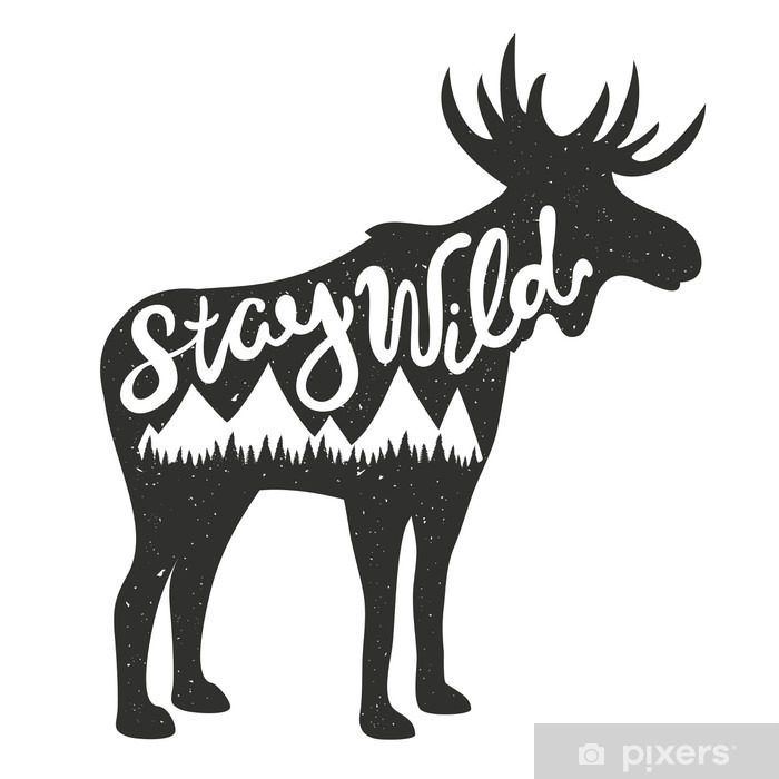 Vector Illustration With Moose Silhouette And Lettering