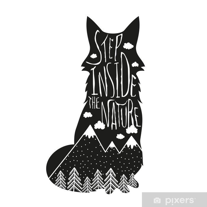 Pixerstick Sticker Vector hand getrokken letters illustratie. Stap binnen in de natuur. Typografie poster met vos, bergen, bos en wolken. - Dieren