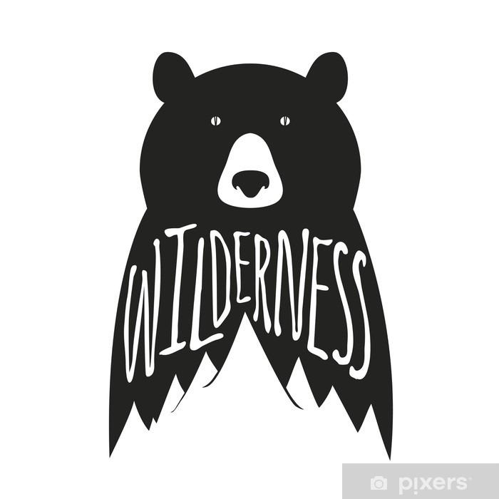Poster Vintage-Vektor-handgezeichnete Typografie Plakat mit schwarzen Bären und Berge - Tiere