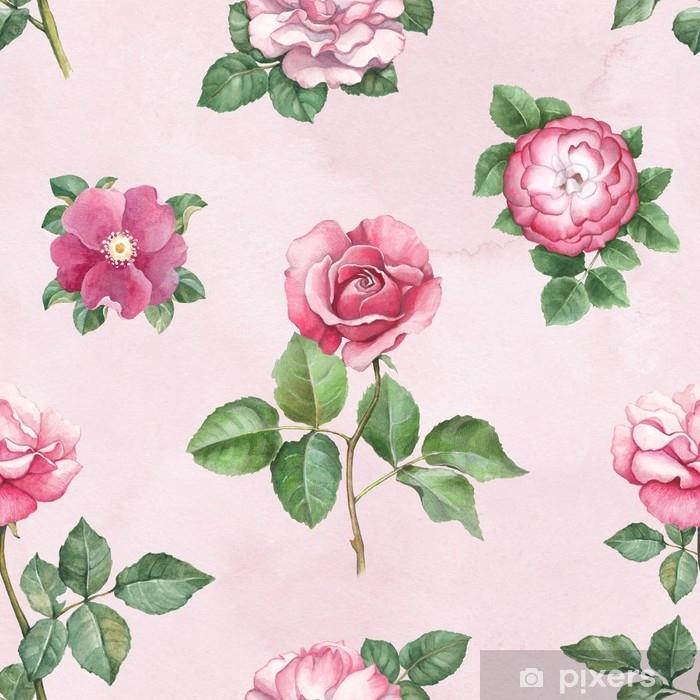 Papier Peint Illustration De Fleurs Rose Aquarelle Modele Sans
