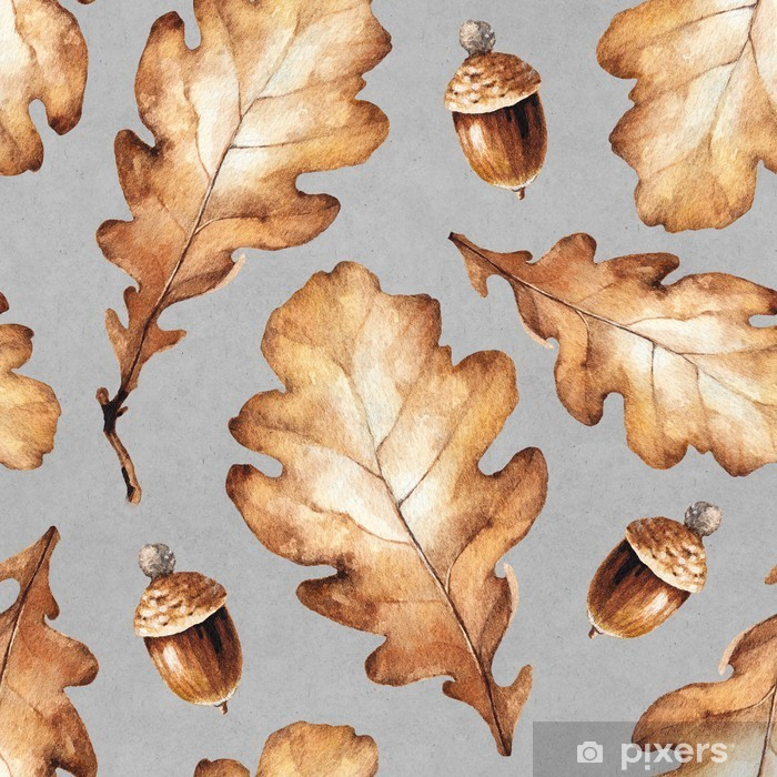 Fototapeta zmywalna Ilustracja akwarela z liśćmi. Jednolite wzór - Jesien