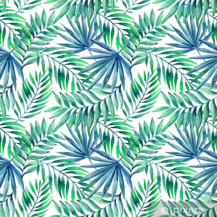 Fototapeta winylowa Akwarela tropikalnych liści bezszwowe wzór - Kwiaty i rośliny