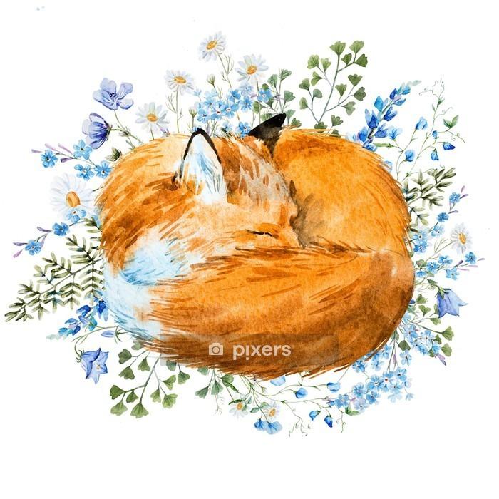 Watercolor sleeping fox Wall Decal - Animals