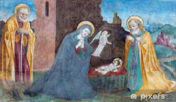 Fototapeta winylowa Brescia, Włochy - 21 maja 2016: Narodzenie fresk Paolo da Caylina il Vecchio (około 1501) w kościele Chiesa del Santissimo Corpo di Cristo. - Budynki i architektura