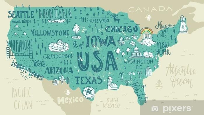 Koc pluszowy Mapa USA - Podróże