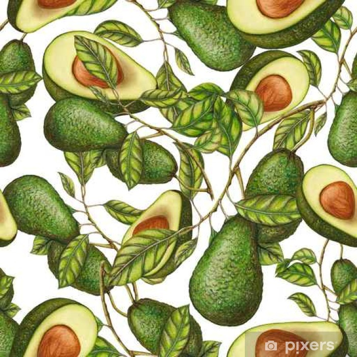 Bord- og skrivebordsklistremerke Seamless mønster av hånd trukket avokado - Mat