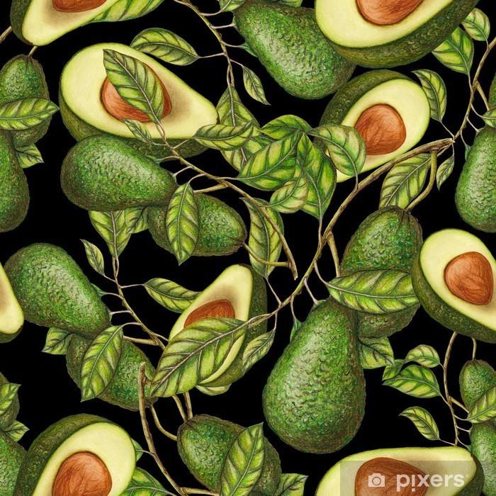 Håndtegnede avocadoer på mørk baggrund, sømløs mønster Lack bord klistermærke - Grafiske Ressourcer