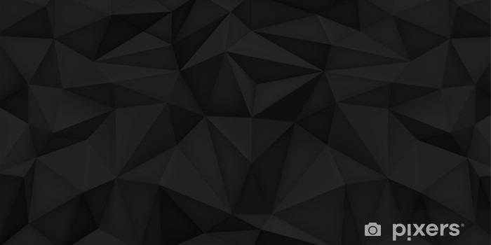 Nálepka Pixerstick Nízká polygon tvary pozadí, trojúhelníky mozaiku, vektor design, kreativní pozadí, šablony designu, černé pozadí - Grafika