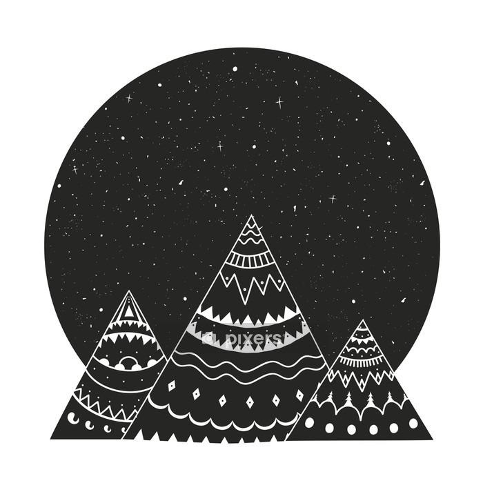 Naklejka na ścianę Ilustracji wektorowych z ornamentem czarny biały stylu rysowane ręcznie górach z gwiazdami - Krajobrazy