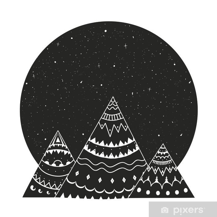 Papier Peint Vector Illustration Avec Ornement Noir Blanc Montagnes