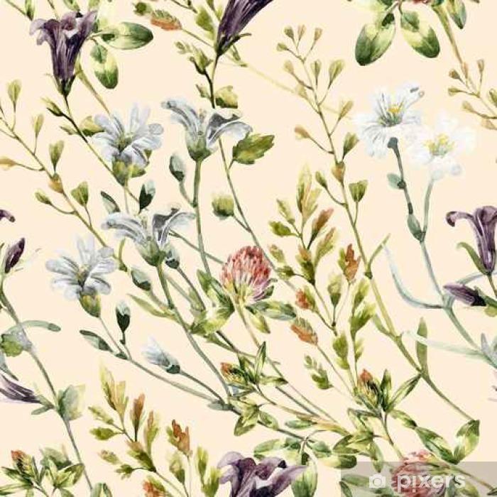 Fototapeta winylowa Akwarela dzikie kwiaty bez szwu deseń. - Rośliny i kwiaty