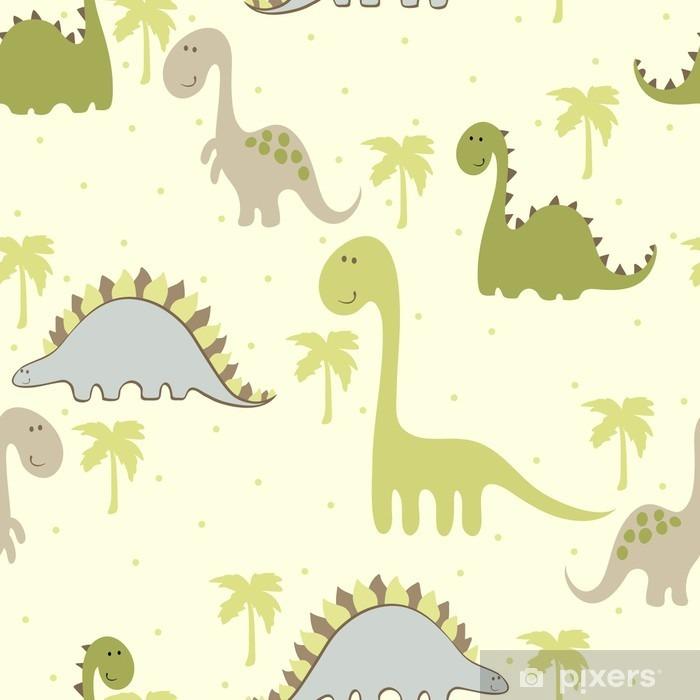 Pixerstick Sticker Vector art naadloze patroon met dinosaurus Cartoon - Dieren