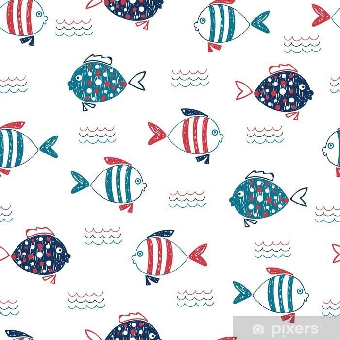 Vinyl Fotobehang Cute doodle vissen naadloos patroon. Vector mariene achtergrond in blauw, rood en wit kleuren. Hand getrokken vissen en golven op wit wordt geïsoleerd. - Kinderkamer
