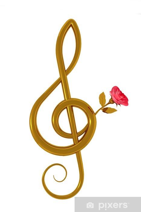 Carta Da Parati Chiave Di Violino E Rosa Rosa Pixers Viviamo