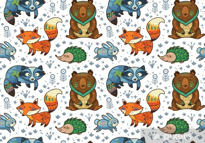 Woodland annimals seamless pattern Table & Desk Veneer - Kids room
