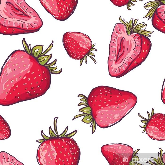 85d62b0071 Carta da Parati in Vinile Vector seamless con fragole rosse. mano disegnare  sfondo colorato estate con bacche. design per tessuto, stampa tessile, ...