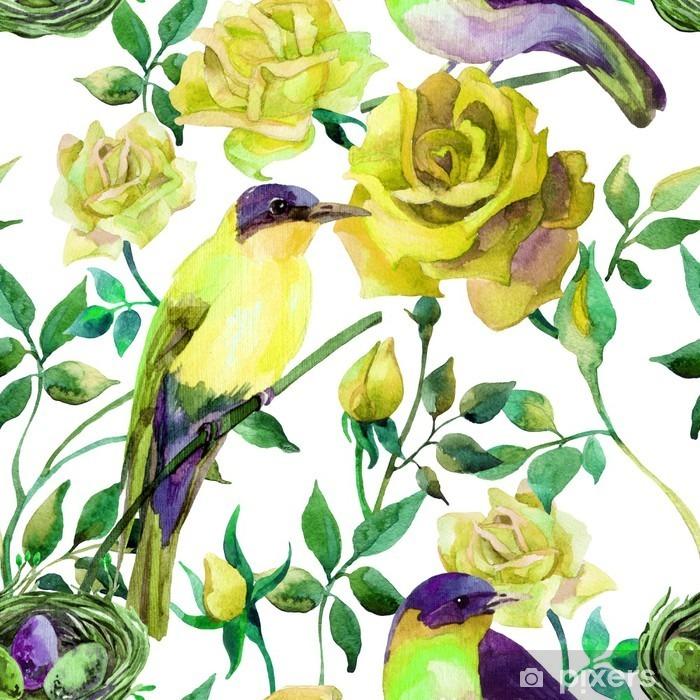 Vinyl Fotobehang Watercolor vogels op de gele rozen - Bloemen en Planten