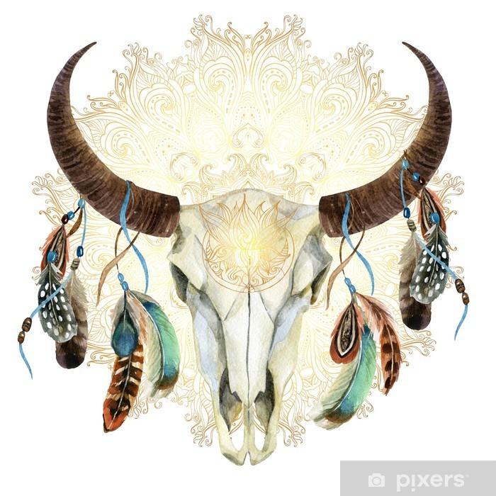 Carta da Parati in Vinile Cranio mucca acquerello con piume - Animali