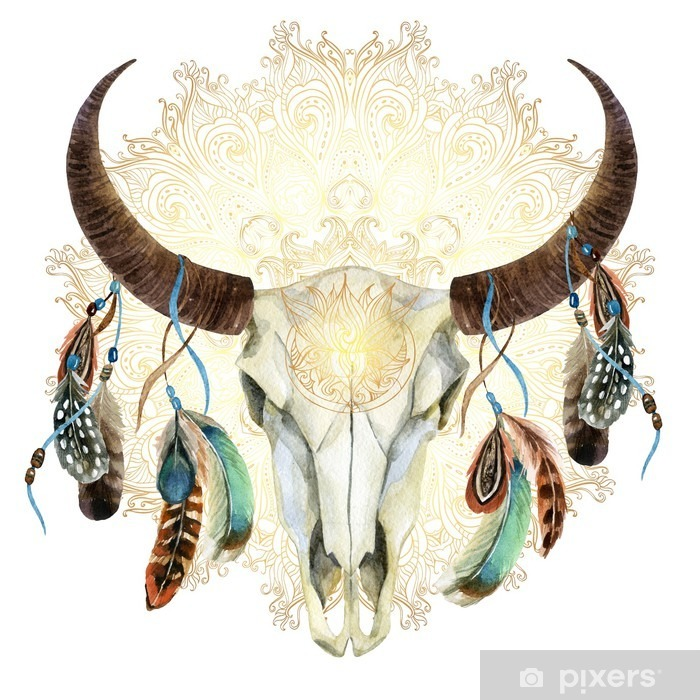 watercolor cow skull with feathers Vinyl Wall Mural - Animals