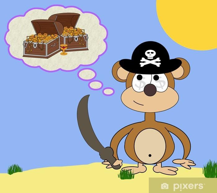 Fototapeta winylowa Greedy Pirate Monkey Cartoon Scena Sen - Przeznaczenia