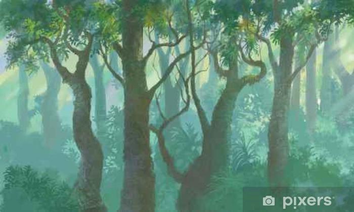 Afwasbaar Fotobehang Binnen bos achtergrond geschilderd illustratie - Landschappen