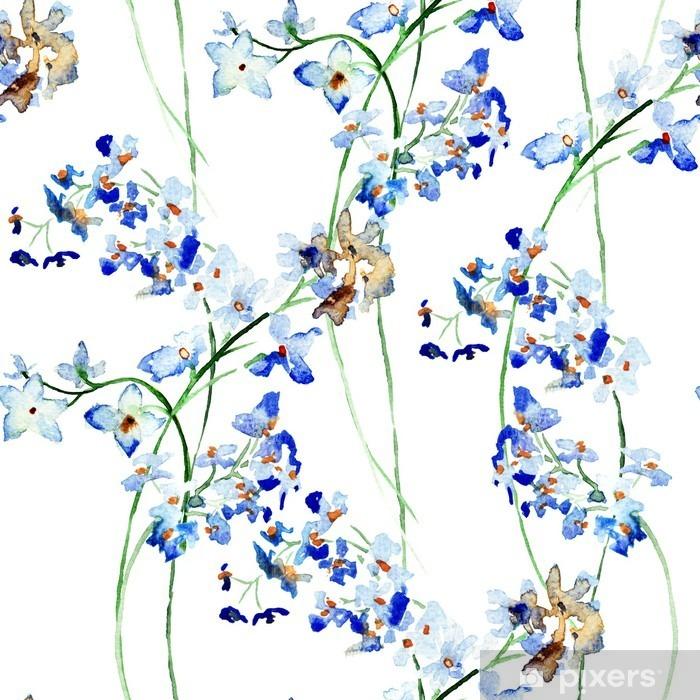Fotomural Lavable Sin patrón con flores silvestres azules - Plantas y flores