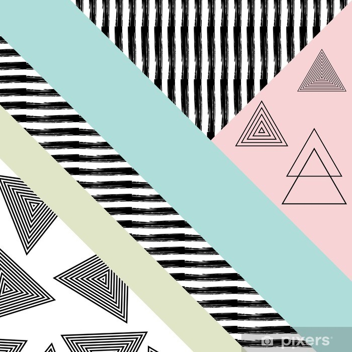 Abstract hand drawn geometric pattern Pixerstick Sticker - Graphic Resources