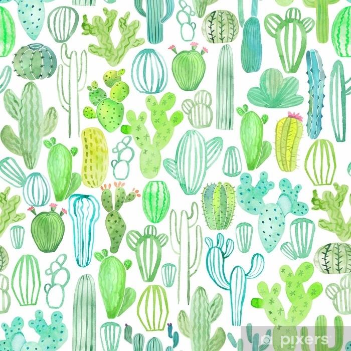 Papier Peint Modèle Sans Couture Aquarelle Cactus Pixers Nous