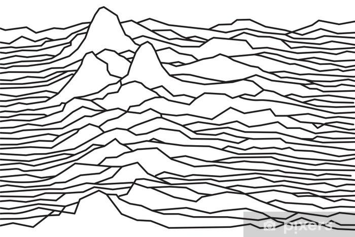 Carta da Parati in Vinile Il ritmo delle onde, la pulsar, linee vettoriali disegno, linee spezzate, montagne - Risorse Grafiche