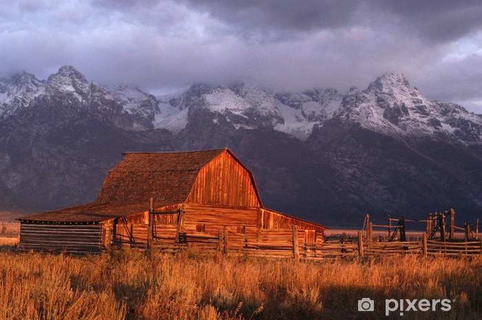 Vinyl-Fototapete Scheune unter den Grand Teton - Berge