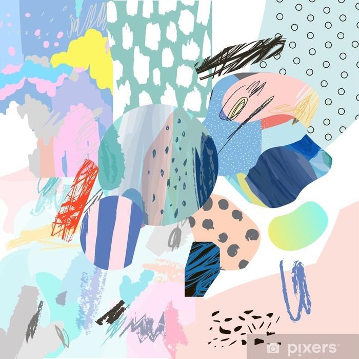 Nálepka Pixerstick Trendy tvůrčí koláž s různými texturami a tvary. Moderní grafický design. Neobvyklé umělecká díla. Vektor. Izolovaný - Grafika