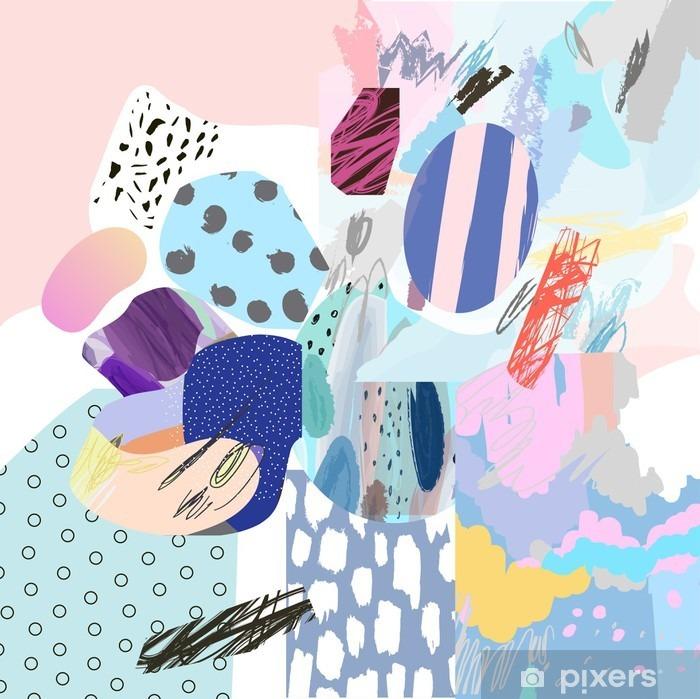 Vinilo Pixerstick Collage creativo de moda con diferentes texturas y formas. diseño gráfico moderno. obras de arte originales. Vector. Aislado - Recursos gráficos