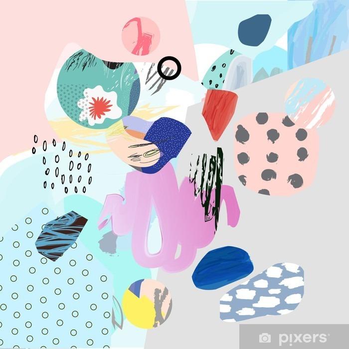 Plakát Trendy tvůrčí koláž s různými texturami a tvary. Moderní grafický design. Neobvyklé umělecká díla. Vektor. Izolovaný - Grafika