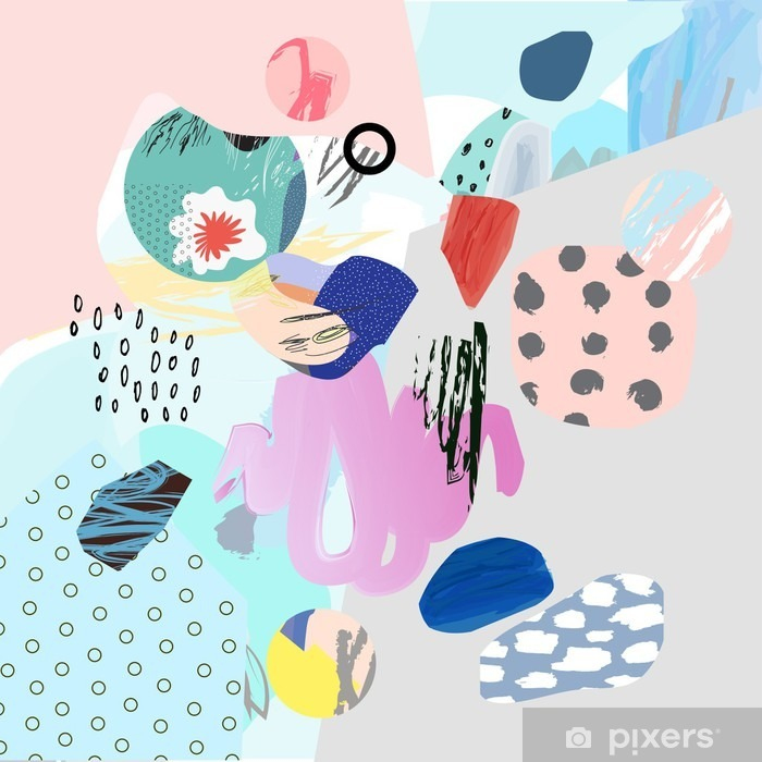 Trendy creative collage with different textures and shapes. Modern graphic design. Unusual artwork. Vector. Isolated Poster - Graphic Resources