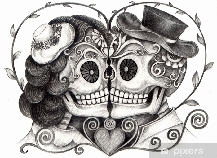 5780df05a ... hand pencil drawing on paper. Art Skull Day of the dead.Art design skull  wedding in love action smiley face