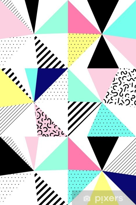 Vector seamless geometric pattern. Memphis Style. Abstract 80s. Pixerstick Sticker - Canvas Prints Sold