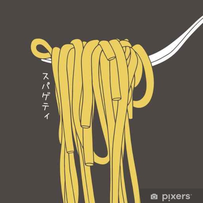 Carta da Parati in Vinile A mano forcella disegnata con gli spaghetti su di  esso. Cartoon pasta di illustrazione. iscrizione giapponese significa  spaghetti. 37e8ef69fd11