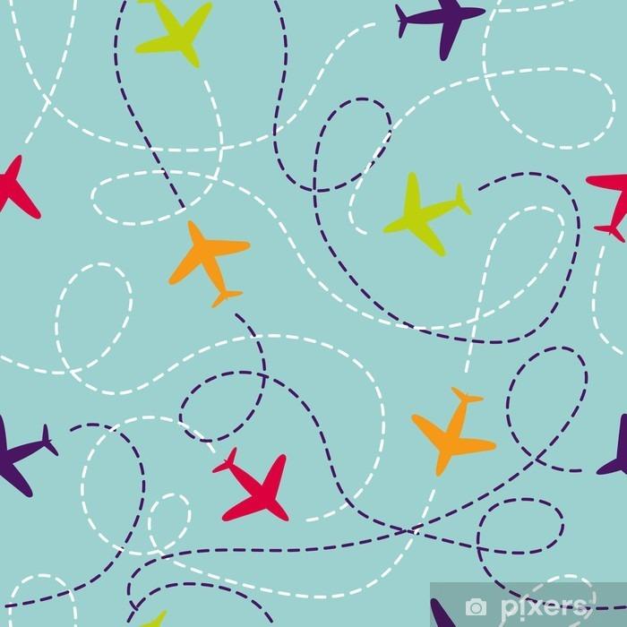 Naklejka Pixerstick Jednolite wzór z samolotów. Wektor tła z kolorowych samolotów. Podróż wokół pojęcia światowej. Ilustracja może być stosowany do tapety, tła, strony internetowej projektu, dzieci tekstylnego. - Podróże