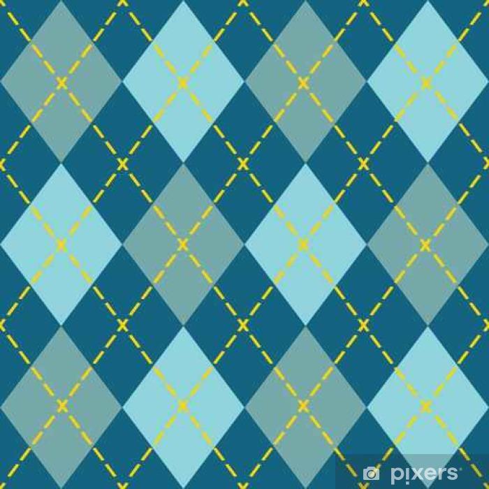 Naklejka Pixerstick Trendy niebieski argyle bezszwowe wzór - nowoczesny design w teal, niebieski i pomarańczowy - Zasoby graficzne