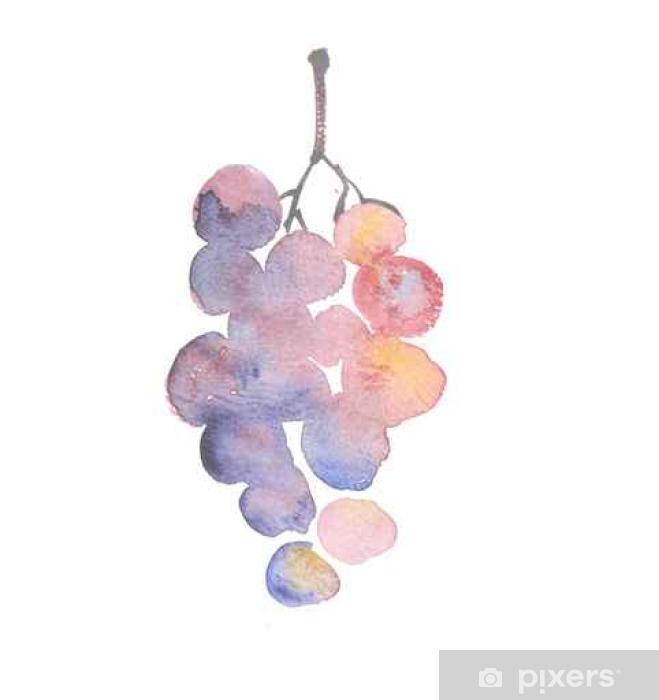 Papier peint vinyle Rose croquis aquarelle de raisin. vin tiré la main grappe de raisin - Ressources graphiques