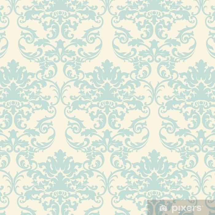 Naklejka Pixerstick Wektor kwiatowy barok adamaszku ornament wzór elementu. elegancka luksusowa tekstura dla tła tekstylnego, tkanin lub tapet. jasnozielony kolor - Zasoby graficzne