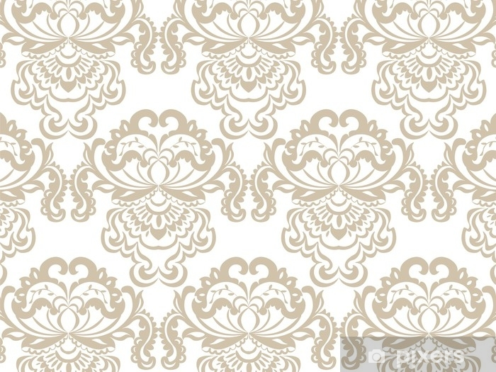 Vinyl Fotobehang Vector bloemen damast barok ornament patroon element. elegante luxetextuur voor textiel, stoffen of behangachtergronden. beige kleur - Grafische Bronnen