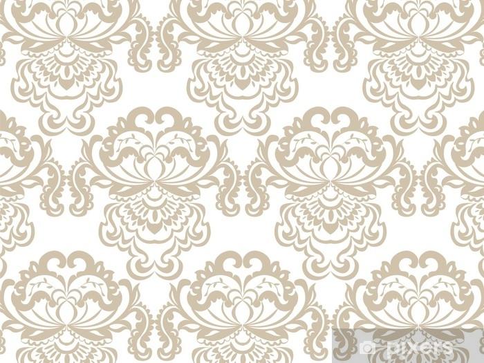 Papier peint vinyle Élément de motif ornement baroque damassé floral vector. texture de luxe élégant pour les milieux textiles, tissus ou fonds d'écran. couleur beige - Ressources graphiques