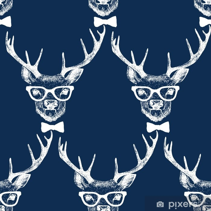 Fototapeta winylowa Bez szwu z ręcznie rysowane przebrany jelenia - Zwierzęta