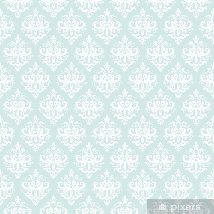 Vinyl Fotobehang Damast naadloze patroon achtergrond in pastel blauw. - Grafische Bronnen