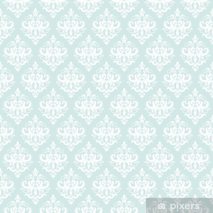 Damask seamless pattern background in pastel blue. Pixerstick Sticker - Graphic Resources