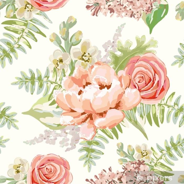 Fotomural Estándar Ramos rosas pálidos en el fondo blanco. vector de patrones sin fisuras con delicadas flores. peonía, rosa, lila, gillyflower. colores pastel dibujado a mano ilustración. - Plantas y flores